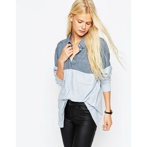 ASOS Color Blocked Twill Boyfriend Shirt